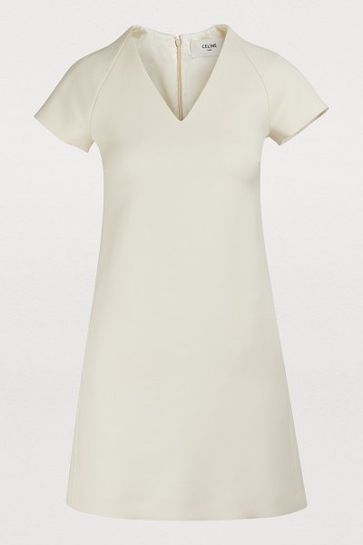 Celine A-line wool and silk dress with cap sleeves in off-white