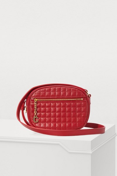 Celine C small model charm bag in quilted calfskin in red