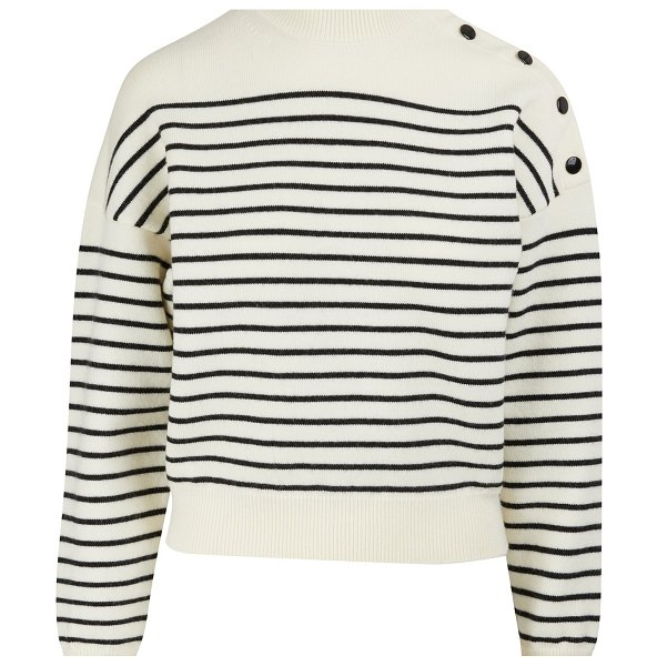 Celine Cropped striped knit jumper in cream/black