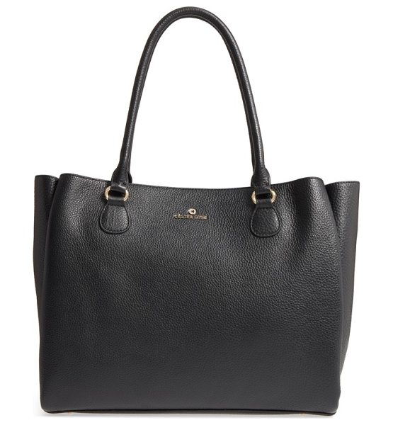 CELINE DION adagio leather tote in black - Pebbled leather adds texture to this sleek tote perfect...