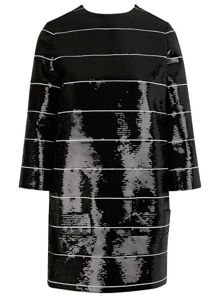 Celine Embroidered sequin A-line striped dress in black / white