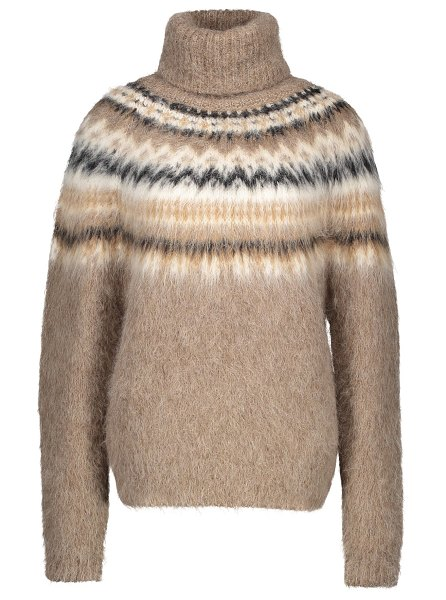 Celine Fair Isle roll-neck alpaca jumper in light brown