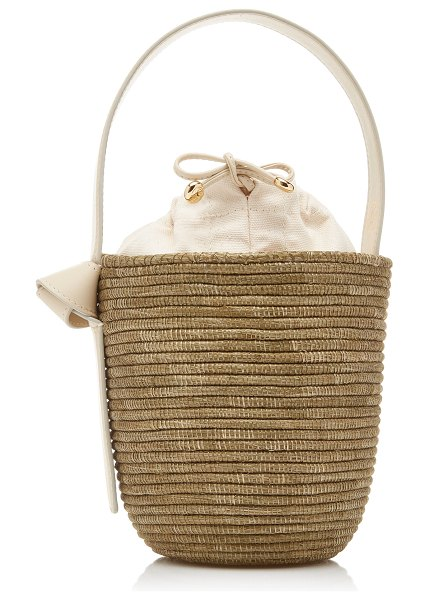 Cesta Collective lunchpail leather-trimmed sisal bucket bag in neutral