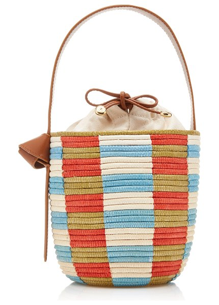 Cesta Collective lunchpail leather-trimmed striped sisal bucket bag in multi