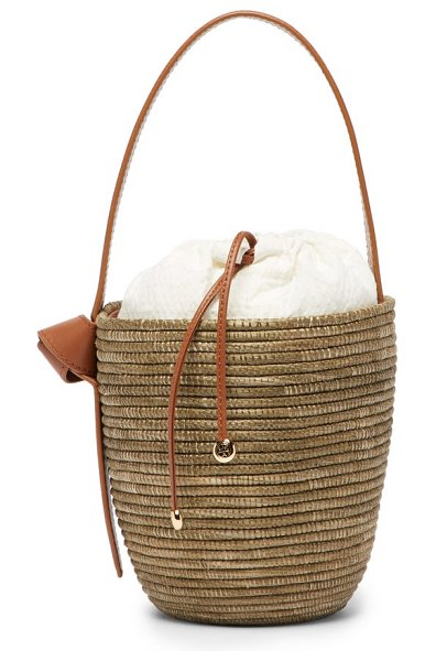 Cesta Collective lunchpail sisal woven bucket bag in tan multi