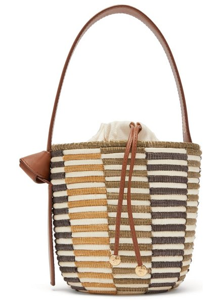 Cesta Collective lunchpail woven-sisal bucket bag in brown multi