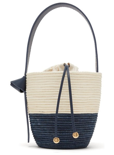 Cesta Collective lunchpail woven sisal bucket bag in navy multi