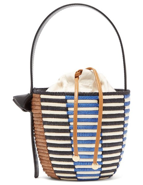 Cesta Collective lunchpail woven sisal bucket bag in black multi