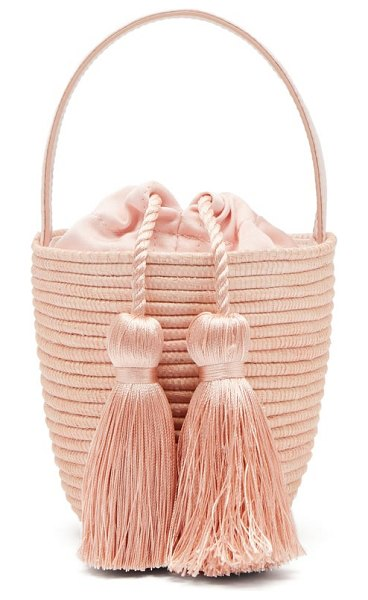 Cesta Collective party pail woven-sisal bucket bag in light pink