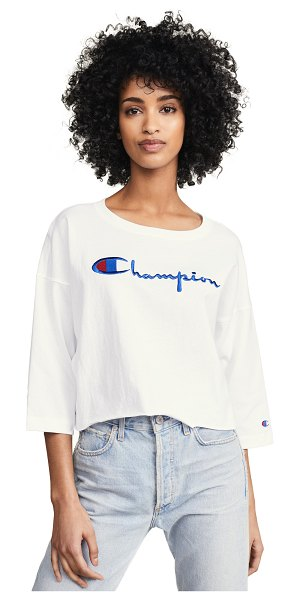 Champion Premium Reverse Weave 3/4 sleeve cropped tee in white