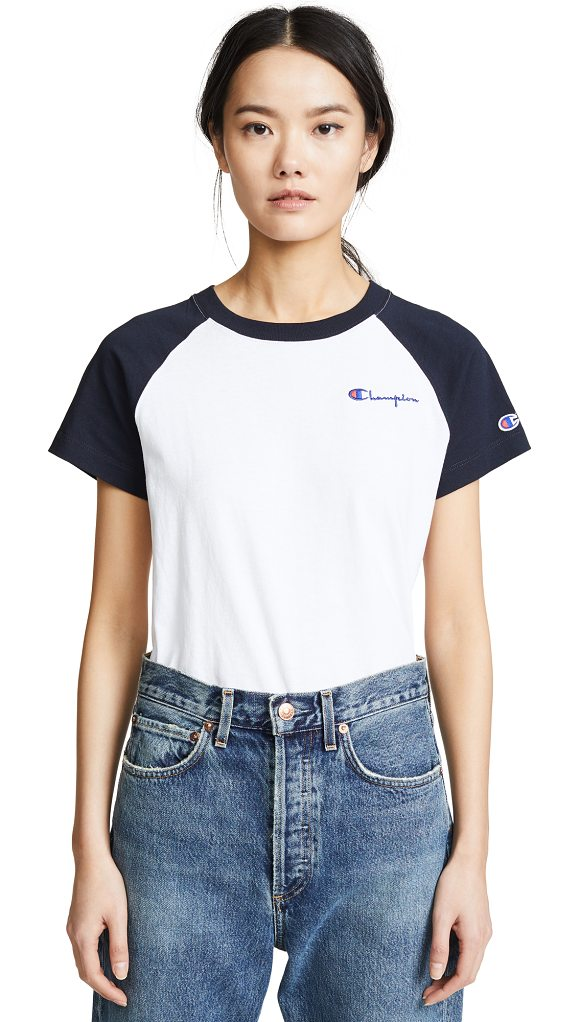 Champion Premium Reverse Weave baseball t-shirt in white/navy - Fabric: Jersey Logo embroidery Waist-length style Crew...