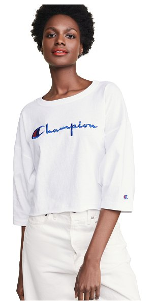 Champion Premium Reverse Weave cropped 3/4 t-shirt in white