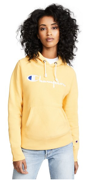 Champion Premium Reverse Weave hooded sweatshirt in yellow - Fabric: Fleece Embroidered logo patch Ribbed trim...