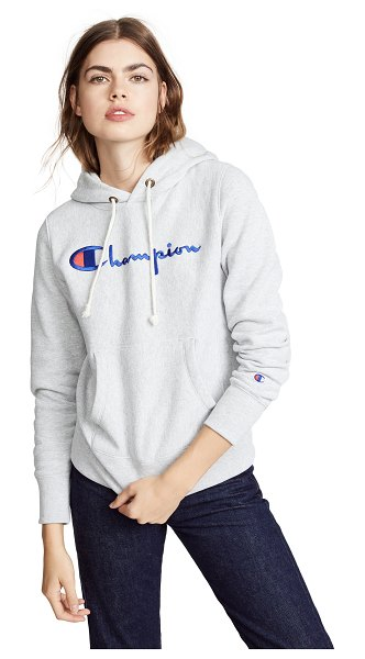 Champion Premium Reverse Weave hooded sweatshirt in oxford grey - Fabric: Fleece Embroidered logo patch Ribbed trim...