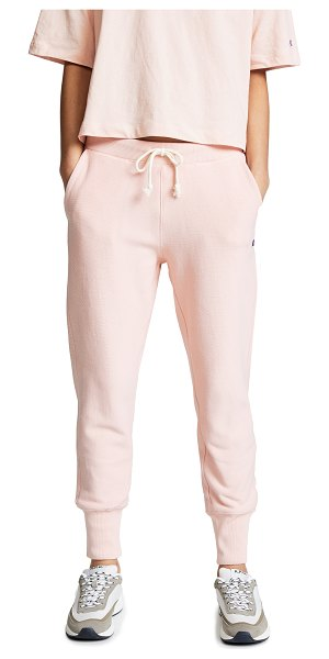 Champion Premium Reverse Weave rib cuff pants in orchid - Fabric: Fleece Logo patch Gathered ankle style Ankle...