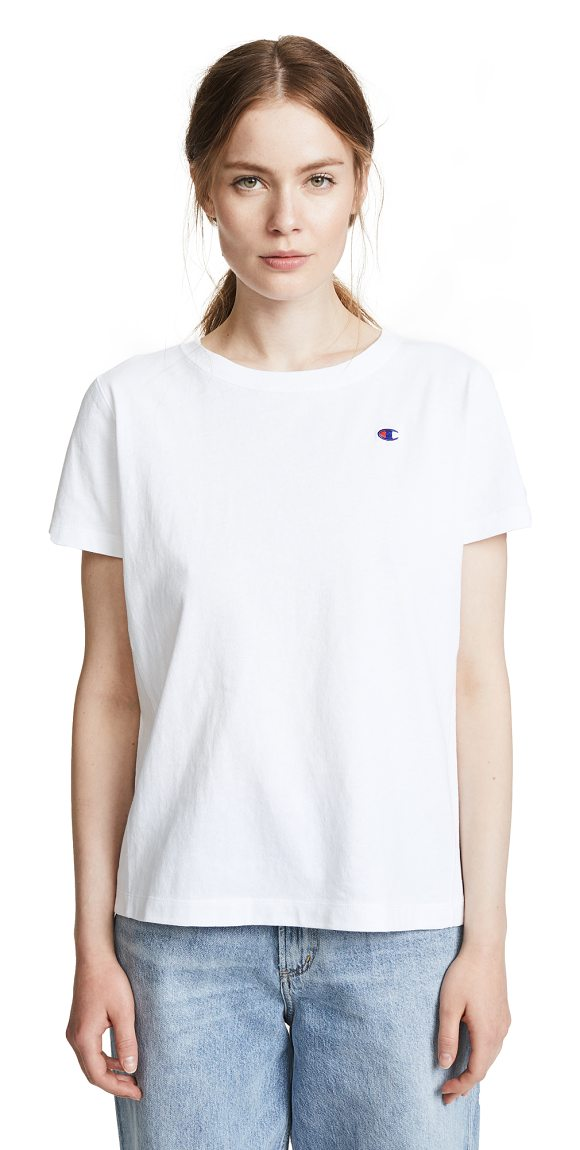 Champion Premium Reverse Weave t-shirt in white - Fabric: Jersey Embroidered logo T-shirt style...