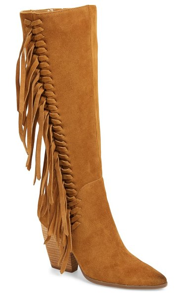 Charles by Charles David nitro fringe knee high boot in biscotti suede