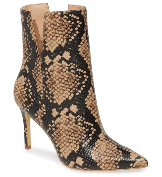 Charles David dashing pointy toe boot in taupe multi snake print