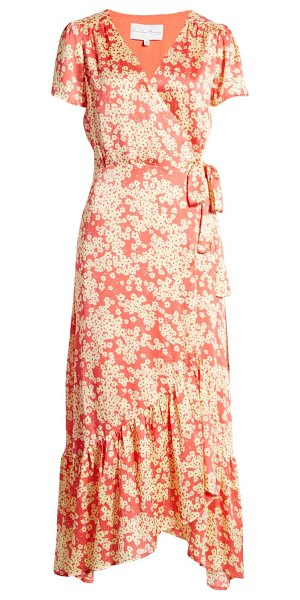 Charles Henry wrap maxi dress in coral yellow blossoms