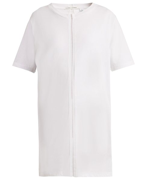 CHARLI COHEN Ladder Trim Cotton T Shirt in white - Charli Cohen - The vertical ladder inserts which divide...