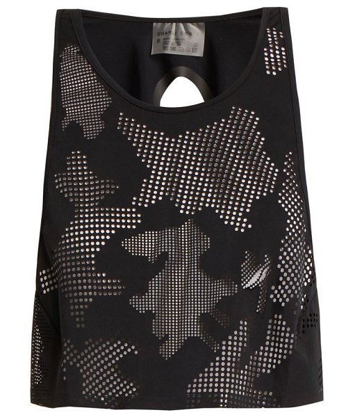 CHARLI COHEN Lumen Perforated Front Jersey Cropped Top in black - Charli Cohen - Charli Cohen's contemporary style is...