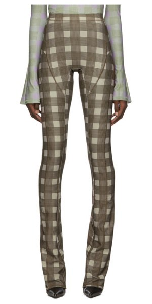 Charlotte Knowles brown truss trousers in grid