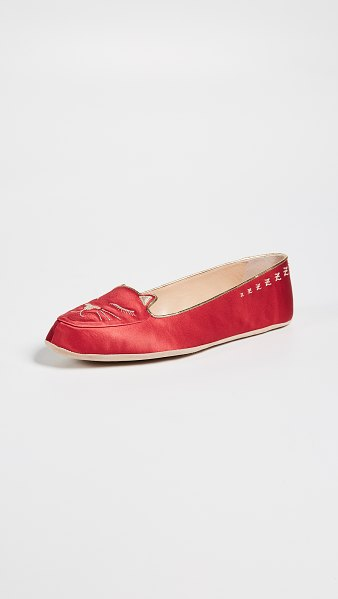 Charlotte Olympia cat nap slipper set in red