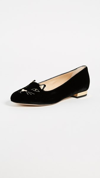 Charlotte Olympia kitty flats in black/gold