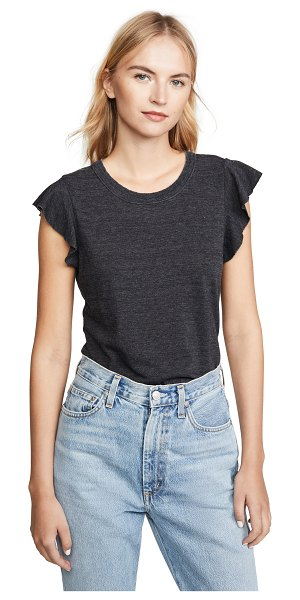 Chaser flutter sleeve crew neck tee in black