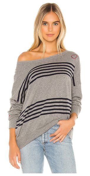 Chaser hearts cashmere blend sweater in heather grey