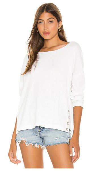 Chaser snap side long sleeve pullover in white