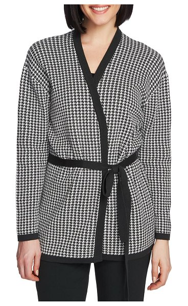 Chaus houndstooth belted cotton cardigan in dk willow