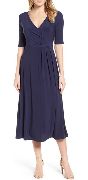 Chaus Laura Faux Wrap Midi Dress In Blue Shopstasy