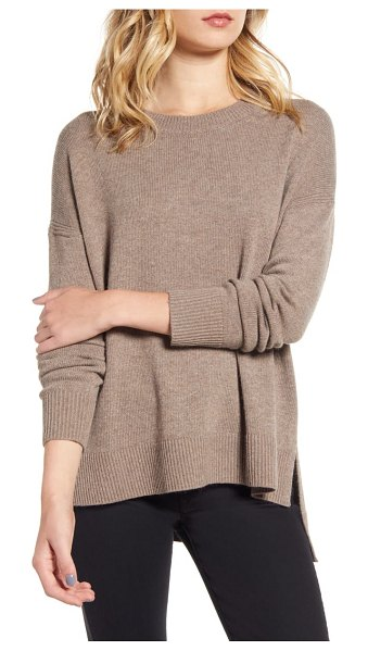 Chelsea28 chelsea 28 high/low crewneck sweater in brown shitake heather