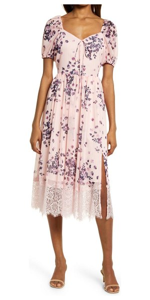 Chelsea28 chiffon & lace dress in pink creole muse flrl