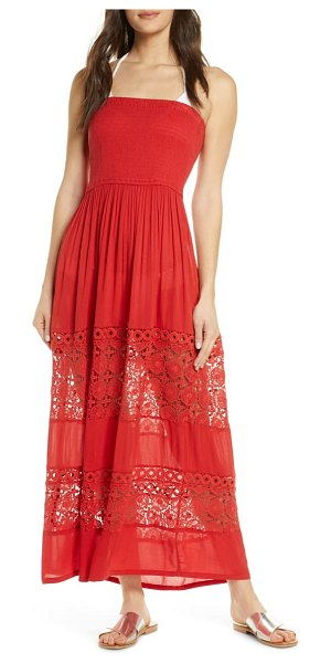 Chelsea28 farrah smocked cover-up maxi dress in red pompeii