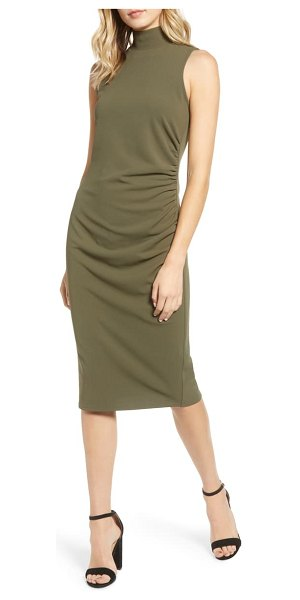 Chelsea28 mock neck sheath dress in olive sarma