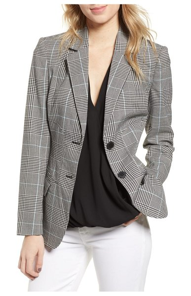 Chelsea28 plaid blazer in blue omphalodes check pattern - The ultimate throw-it-on-and-go piece, this plaid blazer...