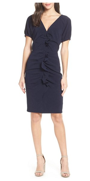 Chelsea28 ruffle front sheath dress in blue - Break the mold in this shapely work-to-play sheath...