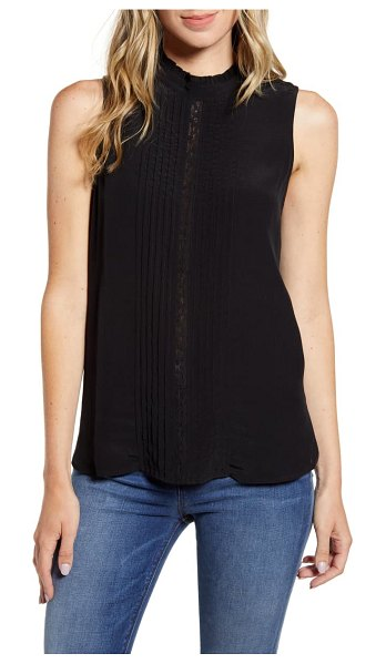 Chelsea28 ruffle & lace sleeveless top in black