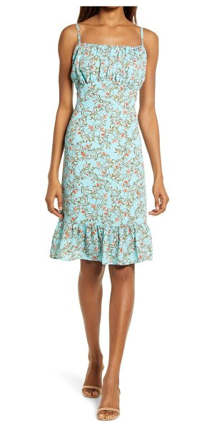 Chelsea28 sleeveless gathered ruffle dress in turquoise coral floral