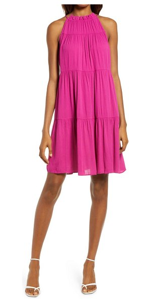 Chelsea28 sleeveless tiered halter shift dress in pink plumier