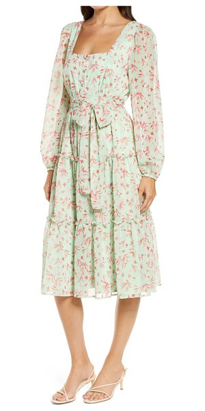 Chelsea28 square neck long sleeve midi dress in green- pink floral