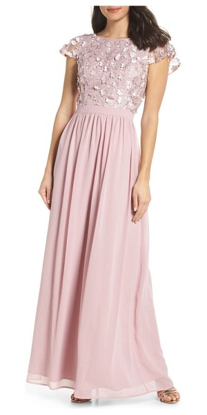 Chi Chi London 3d flower gown in pink - Gorgeous dimensional flowers bloom across the cap-sleeve...
