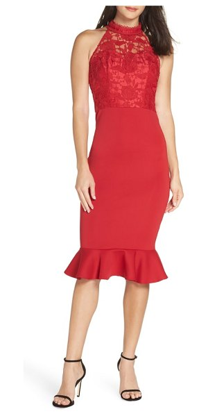 Chi Chi London crochet bodice party dress in red - A lacy crochet overlay details the pretty bodice of a...