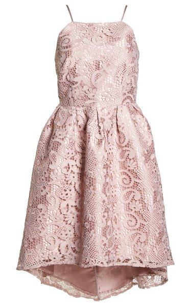 Chi Chi London crochet high/low dress in pink - Gorgeous embroidery romances this pretty, party-ready...