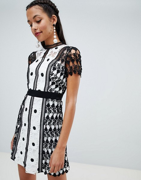 Chi Chi London lace applique a line dress in monochrome - Dress by Chi Chi London, Take this cutie out-out, High...
