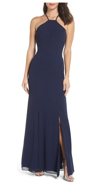 Chi Chi London lace back halter gown in navy - Gorgeous lace details the statement back of a...