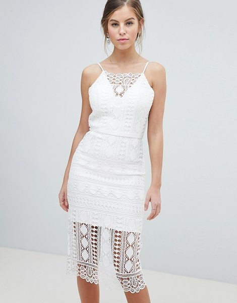 Chi Chi London lace midi dress with v back in white - Midi dress by Chi Chi London, For that thing you RSVPd...