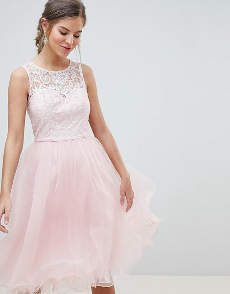 Chi Chi London midi tulle prom dress with premium lace bodice in pastelpink - Midi dress by Chi Chi London, Cute, right? Round neck,...